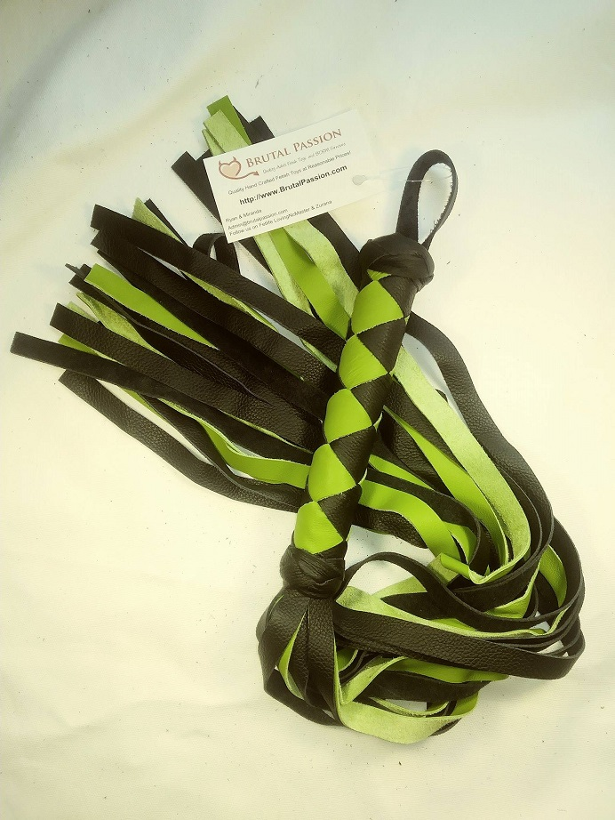 Electric Lime Green & Black 24 fall Leather Flogger