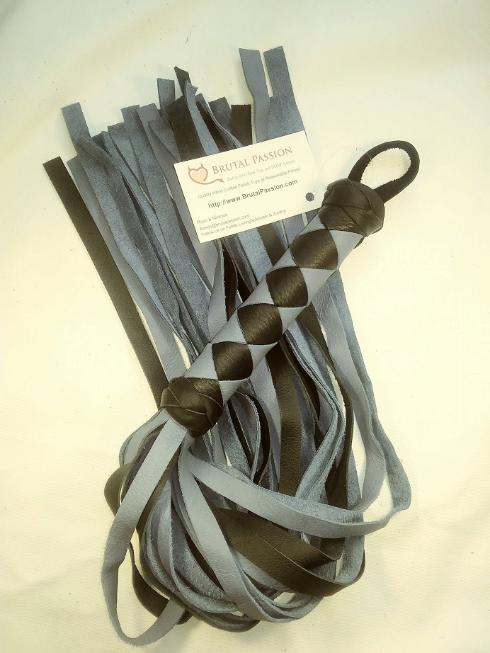 Grey and Black 24 fall Leather Flogger